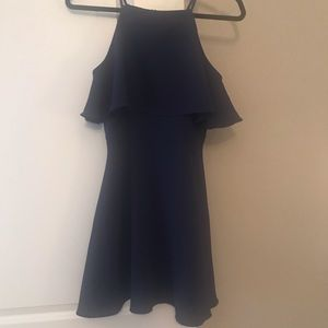 Navy dress with flounce top, size Small